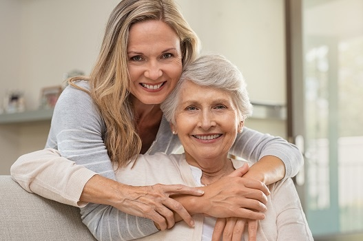 Senior adult with daughter